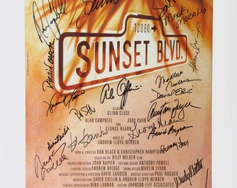 Signed Sunset Blvd Shubert Theater  Poster Glenn Close and cast