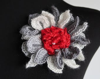 FREE US SHIPPING - Gorgeous Dark Light Gray White Red Color Crochet Statement Flower Hat Hair Scarf Shawl Brooch Pin