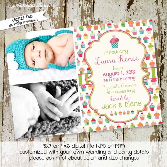 cupcake birthday invitation birth announcement pregnancy ultrasound photo picture couples baby shower sip see brunch | 402 Katiedid Designs