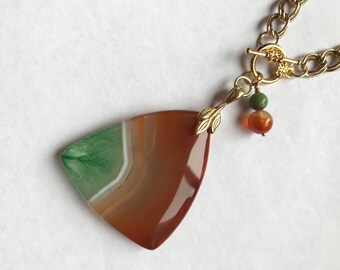 Rust, Green & White Ombré Geode Agate Pendant, Carnelian and Chrysoprase Accents, Front Closing Gold Double Chain; NEW for Fall