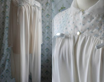 1950s sheer white and blue housecoat.