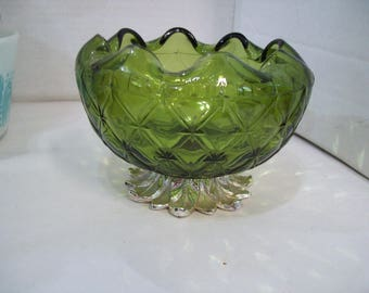 Green Pressed Glass Ruffled Bowl with Silver Pedestal Bottom, Free Shipping S3