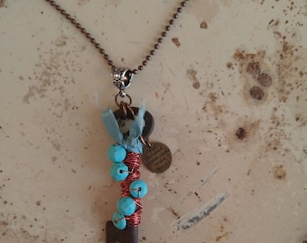 Key necklace, vintage skeleton key necklace, wired wrapped with blue beads, BEHAVE charm, assemblage jewlery, gypsy boho perfect gift