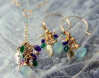 14K Gold and Gemstone Bouquet Necklace & Earrings Set