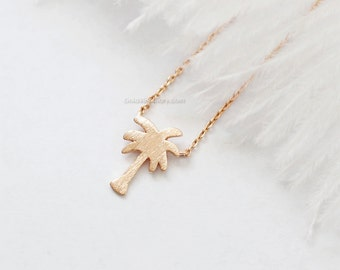 Rose gold Palm Tree Necklace, Dainty palm tree Pendant Necklace, wedding gifts, bridesmaid gifts, birthday gifts, gift ideas