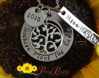Custom Teachers Necklace - Teacher Present - Teachers Plant the Seeds Necklace - Teacher's Name & Year - Teacher Present - Teacher Jewelry