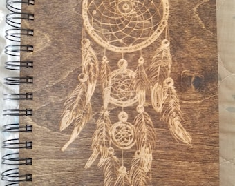 Dream Catcher Etched Wooden Notebook