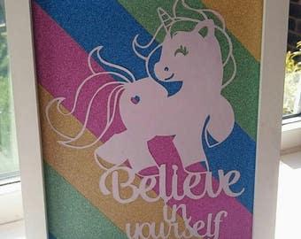Unicorn - Unicorn Gift - gift for her - Believe in yourself - smallbirdcrafts - birthday gift - home decor - wall art - nursery gift