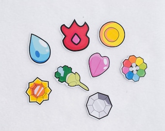 Indigo League Gym Badge Stickers Pokemon Anime Cartoon Characters Stationary