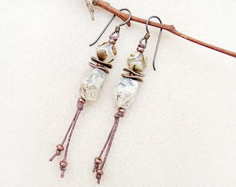 Boho Earrings, Silver Leaf Jasper, Agate, Copper, Tassel, Niobium Ear Wires, Hypoallergenic, Rustic, Handmade, Gift for Her, Gift for Teen