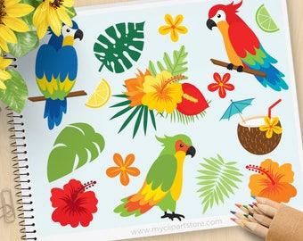 Papageien Clipart, tropische Vögel, Palmenblätter, Strand, tropischen Pflanzen, Cocktail, Kokosnuss, Hibiskus, kommerzielle Nutzung, Vektor ClipArt, SVG schneiden