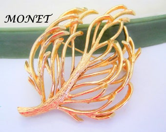 Monet Tree of Life Brooch,  Gold Tone, Mid Century Pin