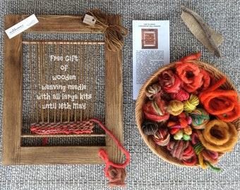 Weaving Kit - Learn to Weave, Woven Wall Hanging, Weaving Loom, Tapestry, Handspun Weaving Wool, Mothers Day Gift, Craft Kit, Orange, Red