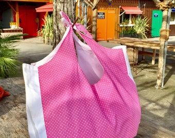 Bag, Tote, cotton tote bag has pink and white polka dots.