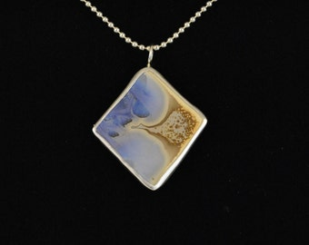 Blue Crystalline Glaze Pottery and Silver Necklace