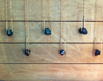 Black Tourmaline Crystal Necklace / Raw Mineral Pendant / Minimalist Brass Bar Jewelry