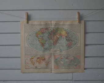 1928 Vintage World Map