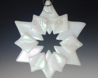 SOLSTICE White Iridized Snowflake, Fused Glass Ornament Suncatcher