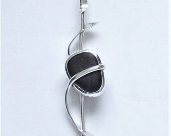 Sea Glass Jewelry - Sterling Rare Black English Sea Glass Pendant