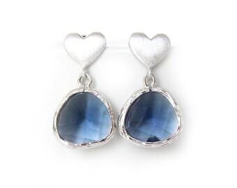 Navy Blue Earrings Silver Heart Post Earrings Navy Earrings Navy Weddings Montana Blue Earrings Montana Bridesmaids Navy Bridesmaids