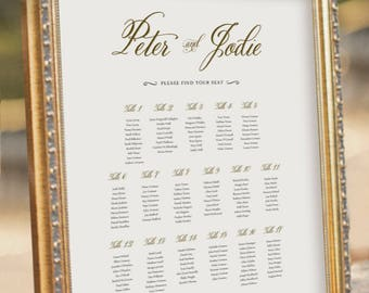 Gold Guest Seating Chart - Wedding Table Plan - digital PDF file