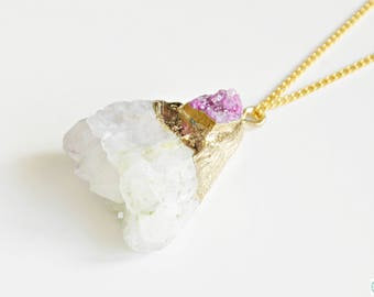Druzy raw Agate pendant necklace