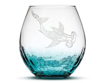 Shark Etched Wine Glass, Handblown Crackle, Tribal Hammerhead, Individual, Sand Carved by Integrity Bottles
