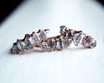 Herkimer Diamond Ring, Alternative Engagement Ring, Promise Ring, Herkimer Diamond Jewelry, Copper Electorformed Herkimer Diamond Ring