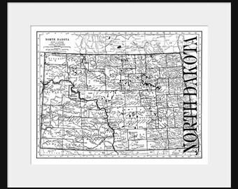 North Dakota Map - Map of North Dakota - Poster - Print
