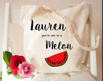 Personalised You're One In A Melon Tote Bag - Beach Bag - Canvas Tote Bag - Bags & Purses - Holiday Bags - Handbag and Beach Essentials