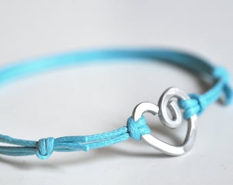Heart Turquoise Bracelet  - Aluminium wire and waxed cotton - Women and Unisex - Vegan friendly