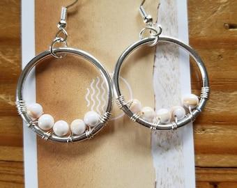 Coral beaded hoop earrings