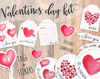 Valentines tags, valentines day, valentines printable, valentine stikers, valentines gift, watercolor hear clipart, printable tag