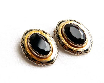 Vintage CORO Art Deco Black Glass & Enamel Dress Clips - Pat. 1801128 - SIGNED - 1920 - Set of 2