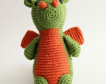 Large Green and Orange Crochet Dragon