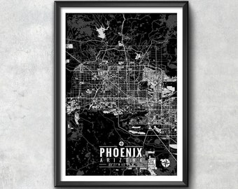 PHOENIX Map with Coordinates, Phoenix Map, Map Art, Phoenix Print, Phoenix Art, Phoenix Gift,  Phoenix Decor, Phoenix Arizona, Map Print,Map