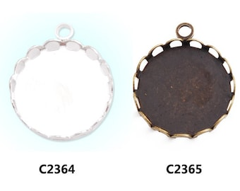 20pcs Lace Edge Pendant Trays with 18mm Round Bezel Cup, fit 18mm round cabochons