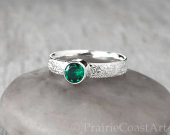Silver Emerald Ring - Handcrafted Artisan Ring - Sterling Silver Emerald Ring - May Birthstone Ring - Engagement