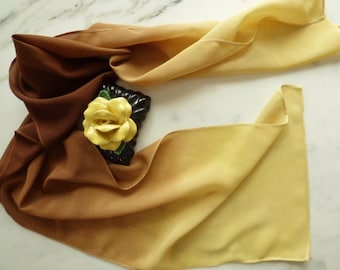Silk Scarf Hand Dyed Ombre Crepe De Chine Silk