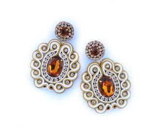 Brown Earrings, Beige Earrings, Boho chic earrings, Wholesale Earrings, Large Earrings, Lightweight Earrings, Big Earrings, Bridal Earrings