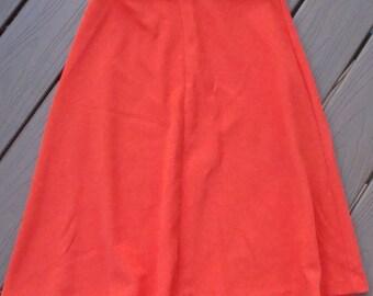 bright red RUSS A-LINE SKIRT 60's 70's knee length 27 waist (D2)