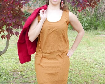 Vintage orange dress size S/M fabric linen OOAK Made in Italy