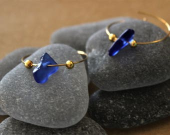 Cobalt Blue Sea Glass Hoop Earrings with Gold Colored Wire