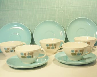 Vintage Temporama Canonsburg Tea Cups/Saucers - Set Of 5 - 1950s