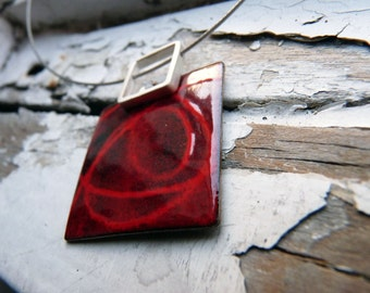 Stencil Necklace - Red and Black enamels -  Sterling silver and copper
