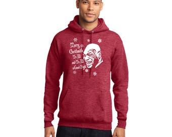 Merry Chrithmith To All And To All A Good Fight Pullover Hooded Sweatshirt Ugly Christmas Sweater Mike Tyson Funny Hoodie