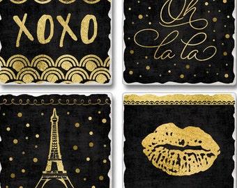 4 Paris Theme New Tile Coasters