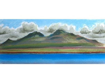 Irishman's Point original pastel landscape drawing mountains Isle of Skye Scotland