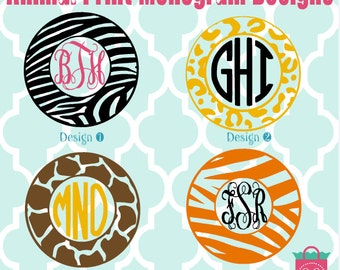 Monogrammed Animal Vinyl Decals - Monogrammed Decals - Monogram Vinyl- zebra - giraffe - leopard -  tiger vinyl decals - monogram car decal