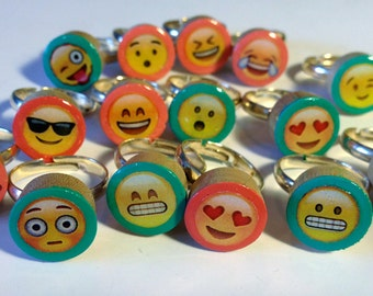 Mood Rings Emoji - Wooden Rings - Handmade Rings - Painted Wood Gick Gift